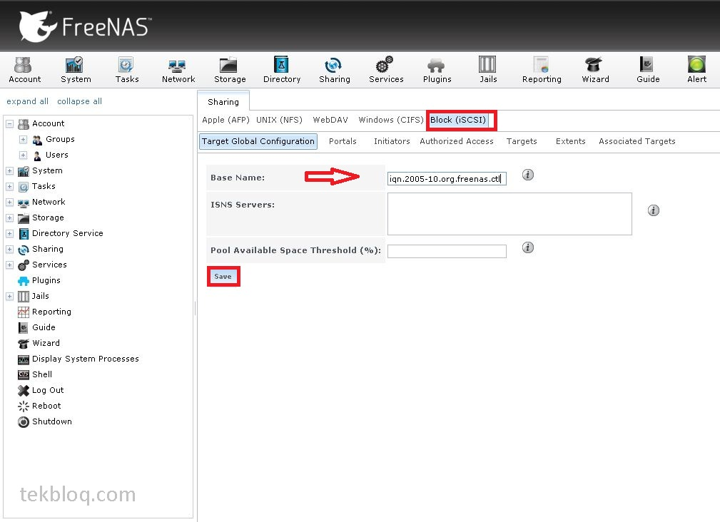 How to configure iSCSI service on FreeNAS with Windows