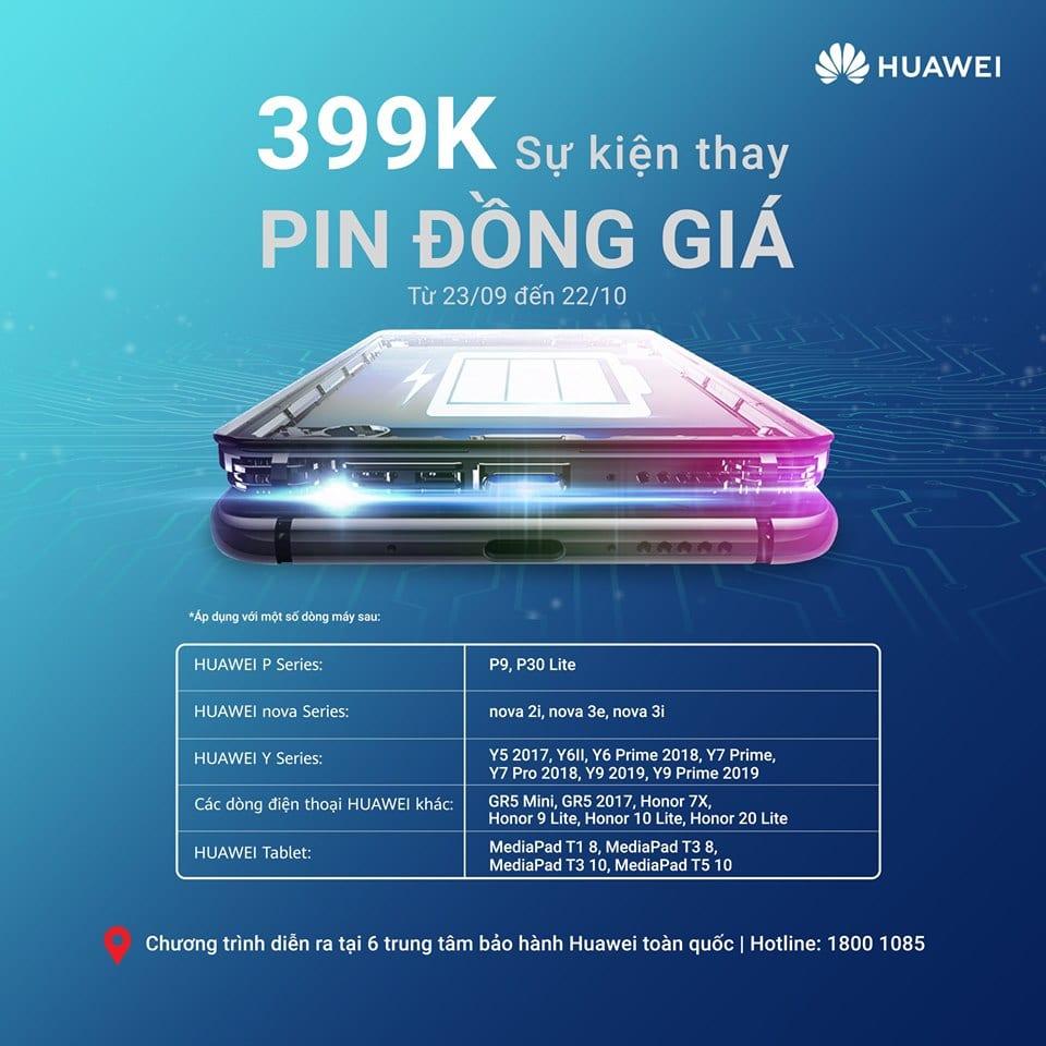 huawei thay pin mien phi 399K