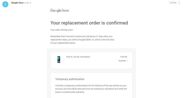 Nexus 6P replaced