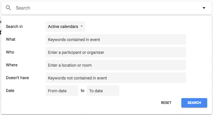 New Version of Google Calendar Advanced Search