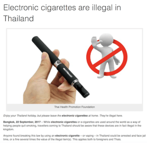 タイで電子タバコは違法です