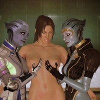 Christie Monteiro finds herself in a company of 2 mischievous asari chicks...