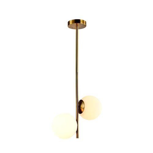 Lyustra 8510-2H 2XE27 White Glass + Gab Metal