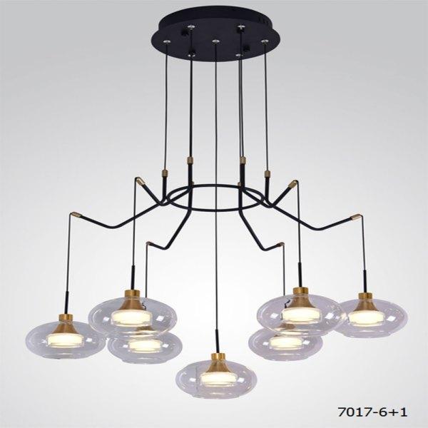 Lyustra LED 7017-6+1 7x8W 3500K BLACK (TEKAVIZE)1