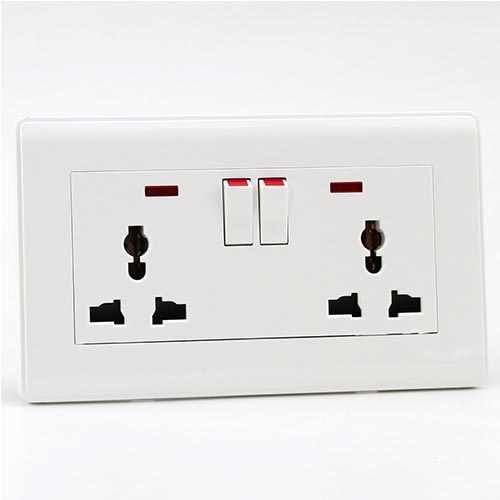 PRIME WHITE 13A 1 GANG 3PIN UNIVERSAL SOCKET with 2 neon+2SWITCH