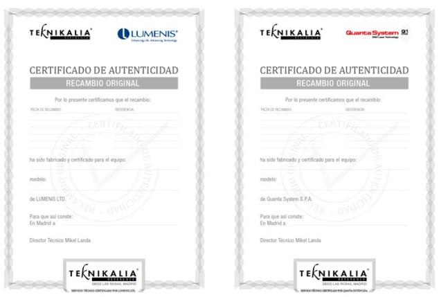 Teknikalia sertificados autenticidad de recambios