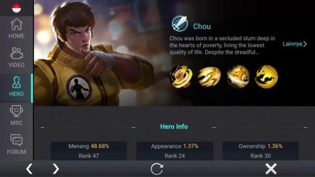Chou, Jenis Hero Dalam Game Mobile Legends