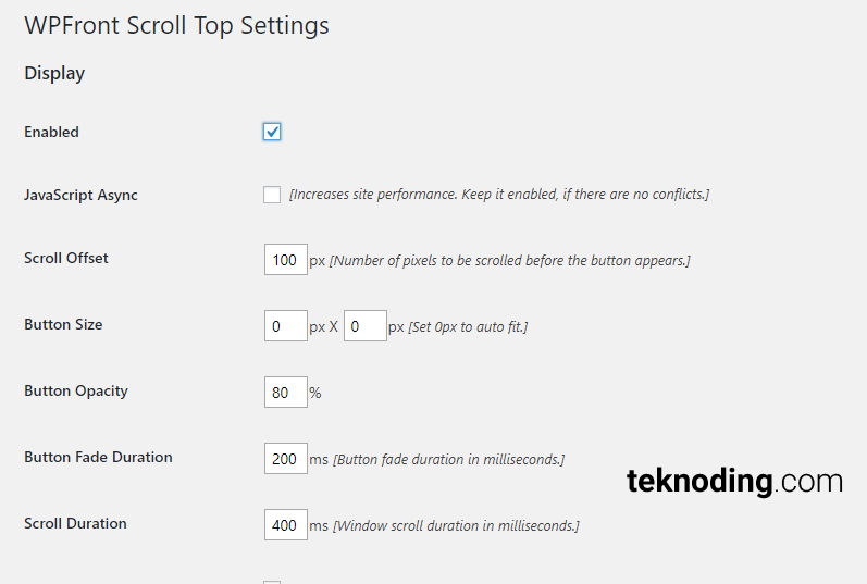 WPFront Scroll Top Settings