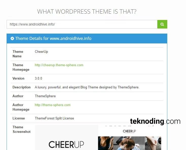 cara lihat theme tema wordpress lewat What WordPress Theme Is That