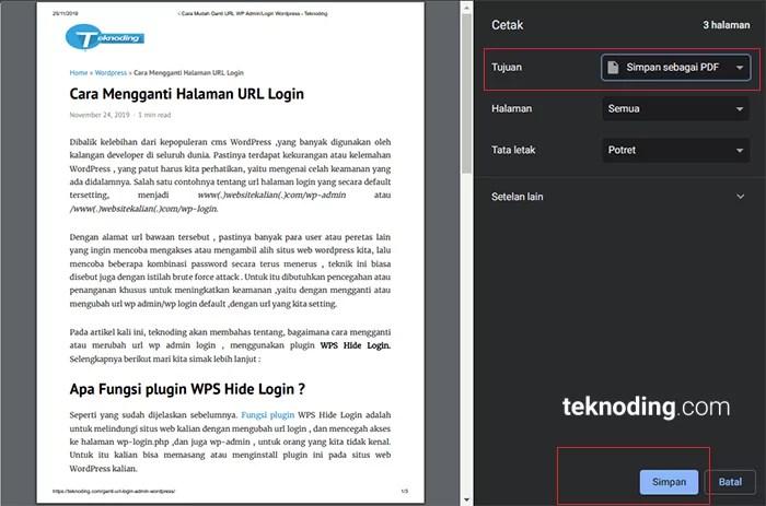 cara menyimpan save halaman web menjadi  file PDF di google chrome pc