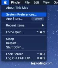 Logo Apple > System Preferences menu bar mac os x