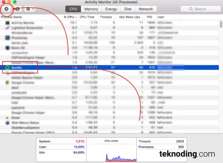 Mematikan Proses Aplikasi Spotify di Activity Monitor Mac OS  X Macbook imac