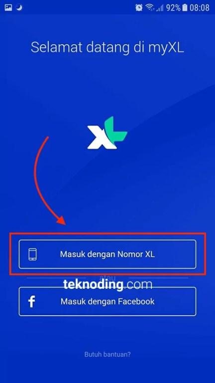 Masuk dengan Nomor XL aplikasi myxl android 2020