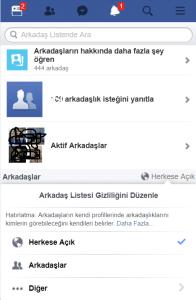 facebook arkadaş listesi gizleme nasıl yapılır