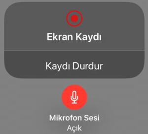 ios ekran kaydı iphone