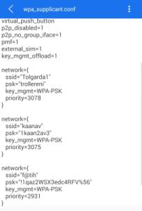 telefonda kayıtlı wifi şifreleri görünüyor