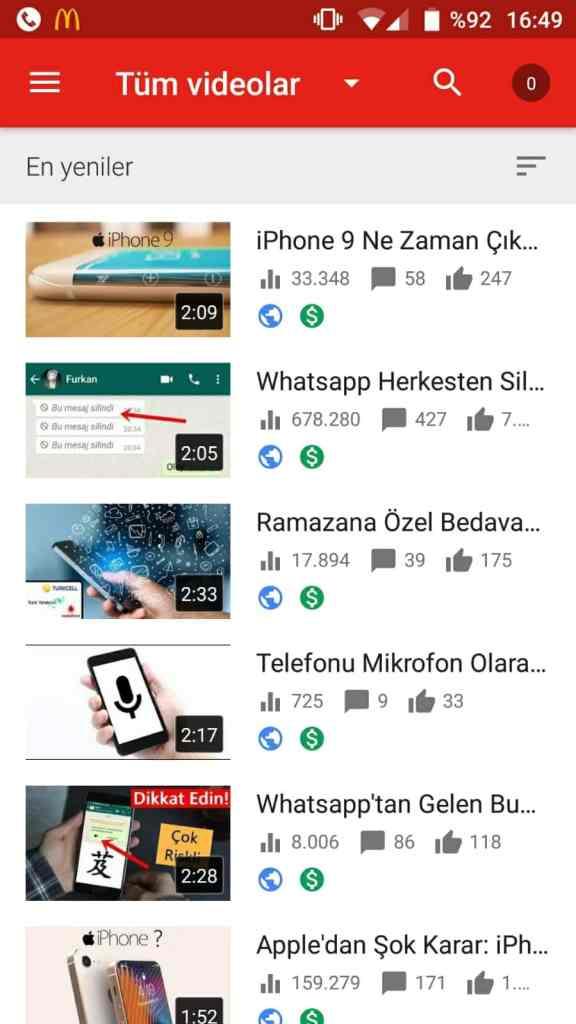 youtube izlenmeler