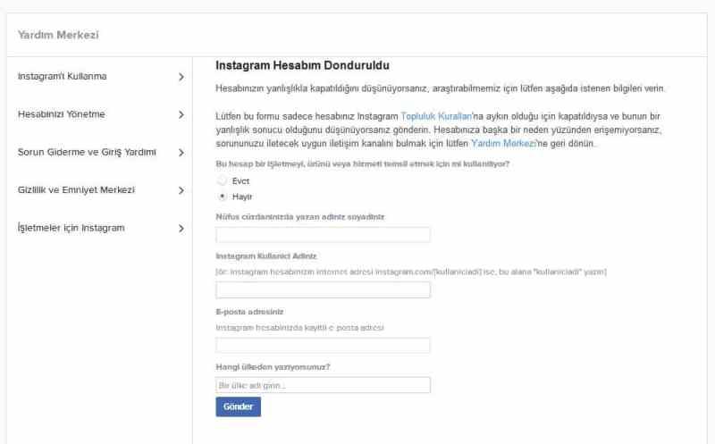instagram hesabı geri alma formu