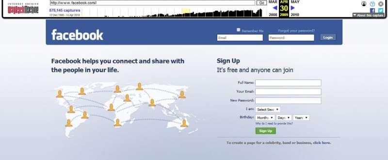 facebookun eski hali