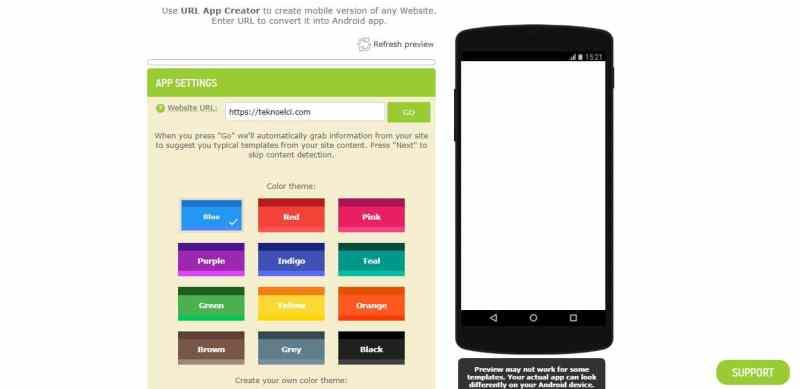 web sitesini android uygulamasına çevirmek
