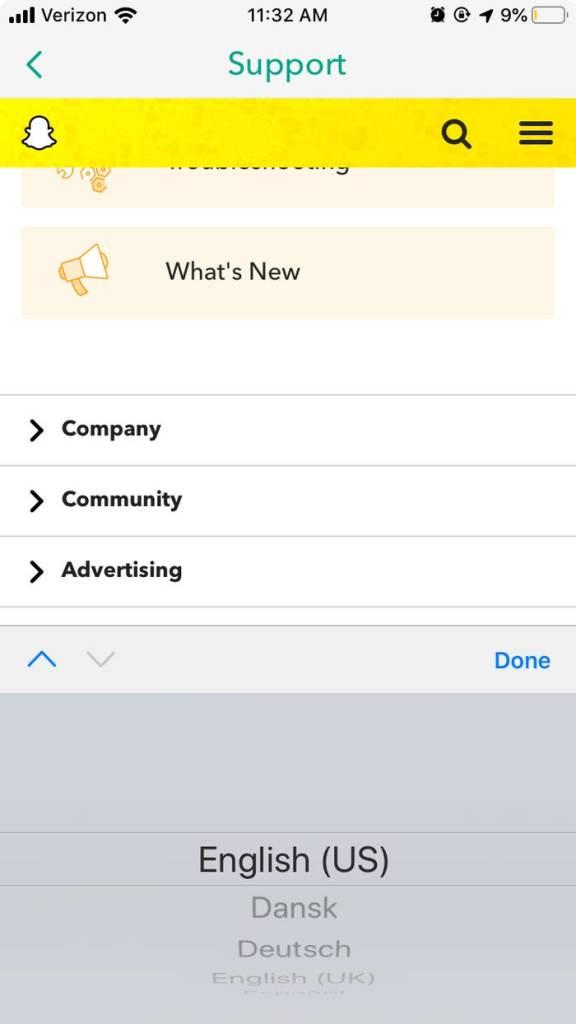 Snapchat Dil Değiştirme ayarları