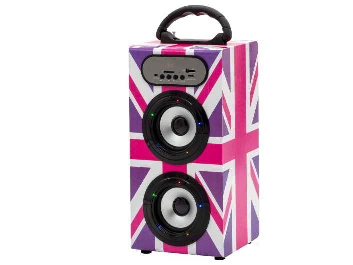 Teknofun Enceinte sans fil Radio FM 28cm UK Girly