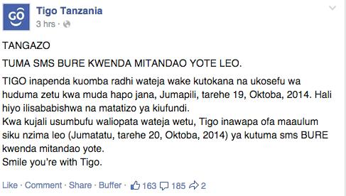 Ujumbe kwenye Ukurasa wao wa Facebook
