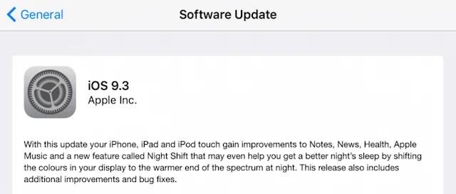 iOS 9.3 -Update