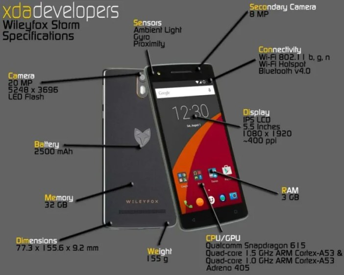 WileyFox Storm specifications