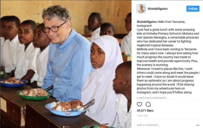 Bill Gates ajiunga mtandao wa Instagram akiwa nchini Tanzania