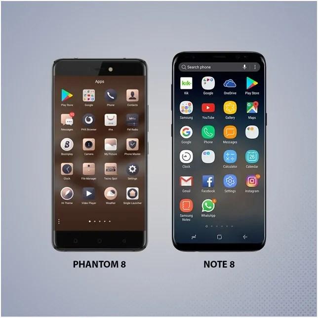 Meonekano Wa Mbele Kati Ya Phantom 8 Na Galaxy Note 8