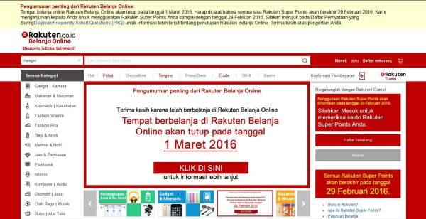 Rakuten, Indonesia, Belanja Online, Penutupan Rakuten