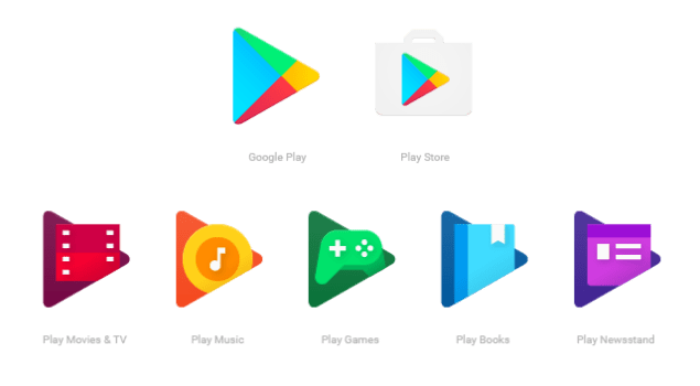 Google Play, Play Store, Play Movies & TV, Play Music, Play Games, Play Books, Play Newsstand