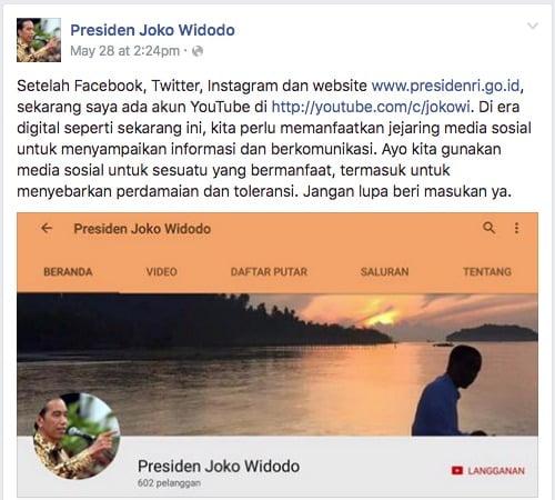 Facebook Presiden Joko Widodo