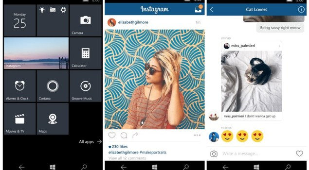 Instagram, Windows 10 Mobile