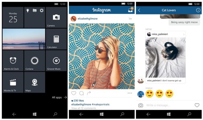 Instagram, Windows 10 Mobile