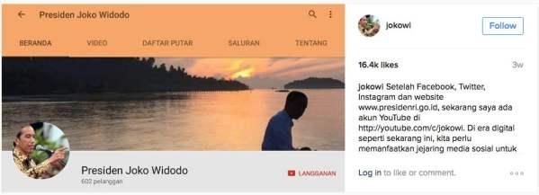 Joko Widodo on Instagram Setelah Facebook Twitter Instagram dan website sekarang saya ada akun YouTube