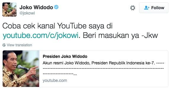 Joko Widodo on Twitter Coba cek kanal YouTube saya Beri masukan ya Jkw