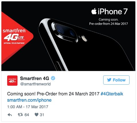 Pre-Order Apple iPhone 7 dan 7 Plus Smartfren