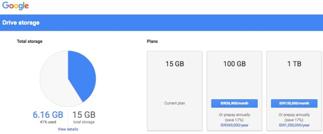 upgrade google drive storage