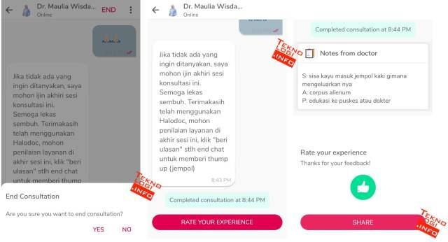 Berikan Penilaian terhadap dokter yang memberikan konsultasi