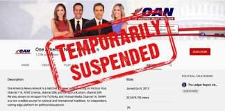 Youtube suspends One America News Network OANN