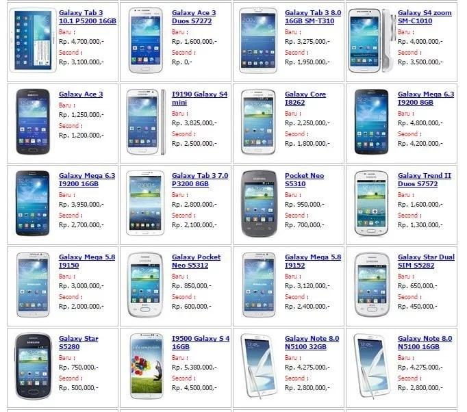 Ini lah Daftar Harga Smartphone & Tablet Samsung Bulan