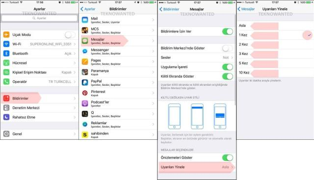 iOS 'ta tekrarlı Mesaj bildirim ayarlarlama