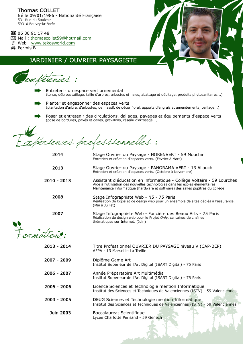 exemple de cv pour les espace vert