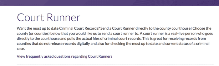 background check and court runner
