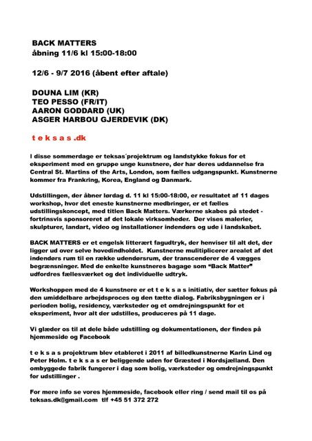 Back Matters-workshop and show- teksas-12/6-9/7 2012,press release