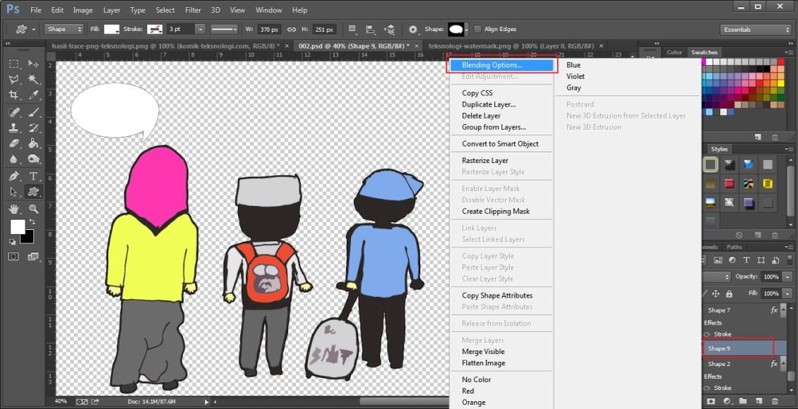 blending-options-shape-komik-photoshop-teksnologi