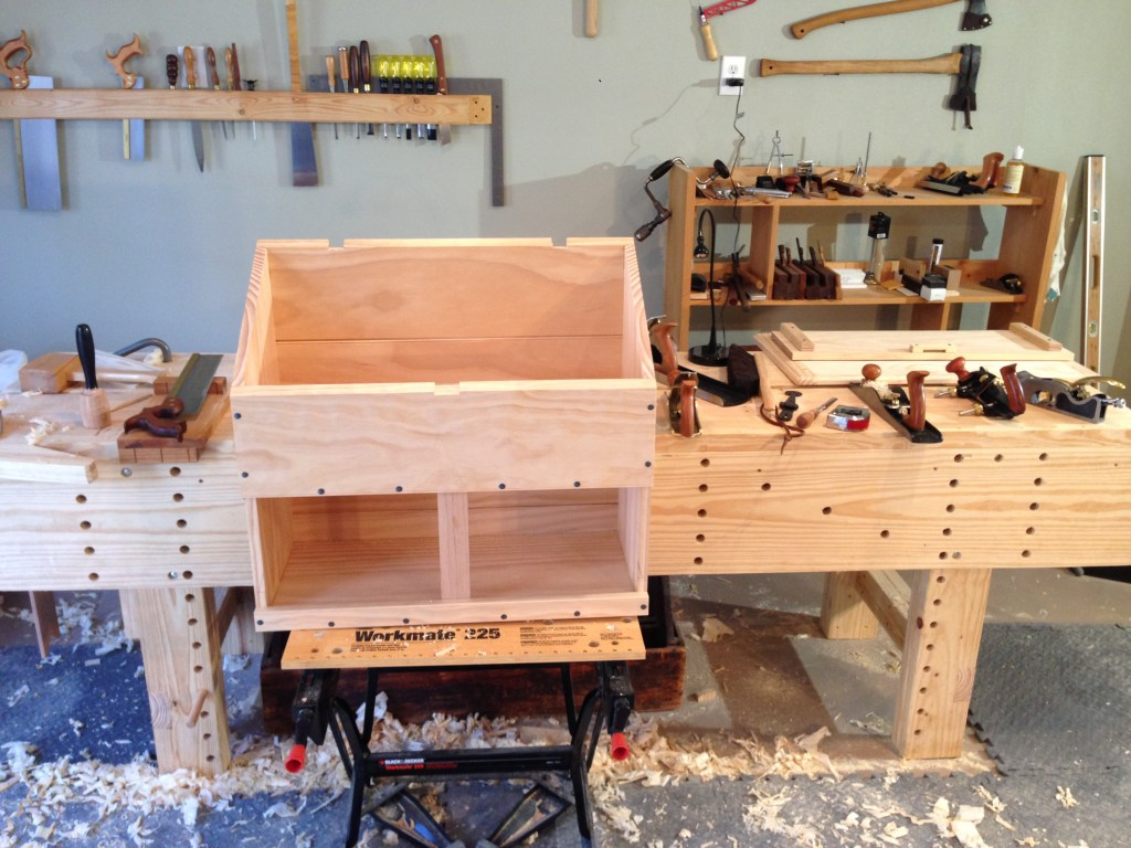 The mortises for the hinges and hasp of the chest all cut. Just awaiting the lid now.