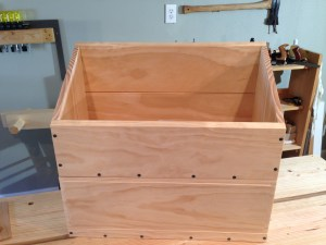The completed chest with the fall-front in place. Just waiting for the lid.